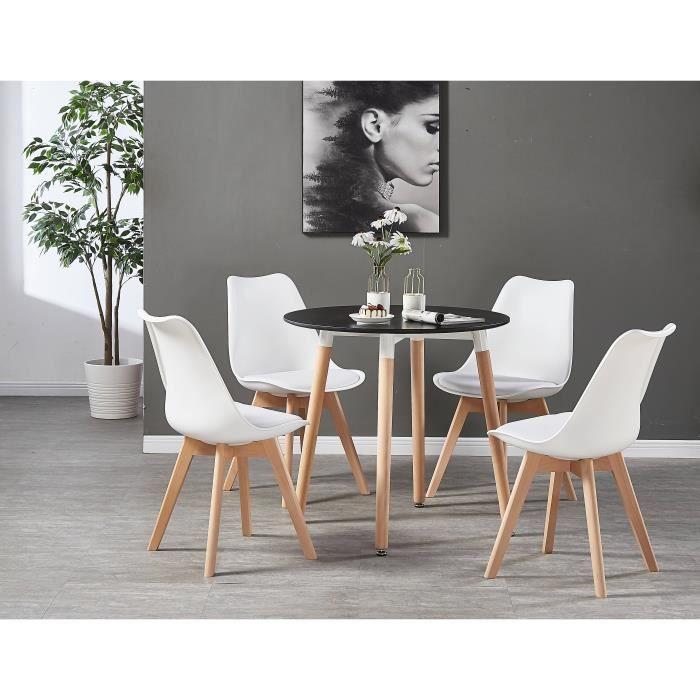 Table Noire Ronde + 4 Chaises Scandinaves Blanches - Ensemble pour Salle à  Manger ou Cuisine