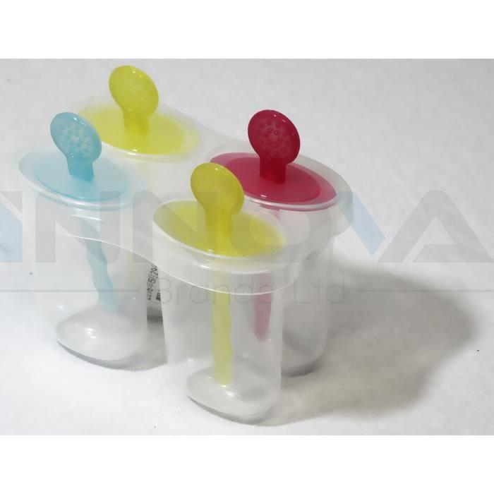 4 x Ice Lolly Pop Mould Maker Jelly Crème jus congelés Glace Moule Bac Kids
