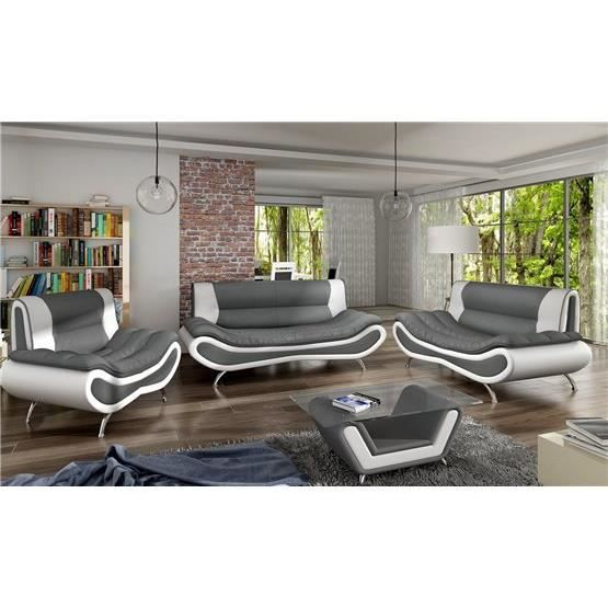 ensemble de canap design 3 2 ori gris et blanc achat vente canap sofa divan cdiscount. Black Bedroom Furniture Sets. Home Design Ideas