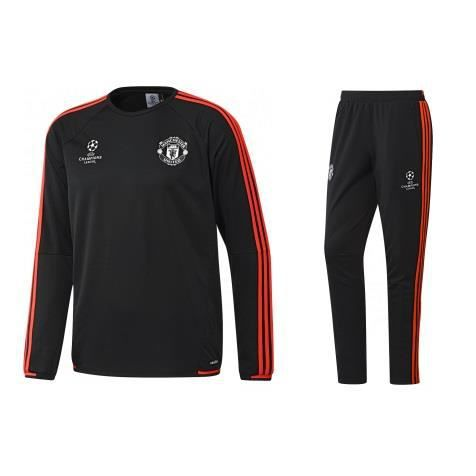 survetement training adidas manchester united s noir noir achat vente ensemble de v tements. Black Bedroom Furniture Sets. Home Design Ideas