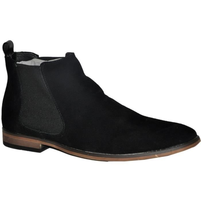 bottines noires cuir nubuck homme chelsea boots r3803 bk noir noir achat vente bottine. Black Bedroom Furniture Sets. Home Design Ideas