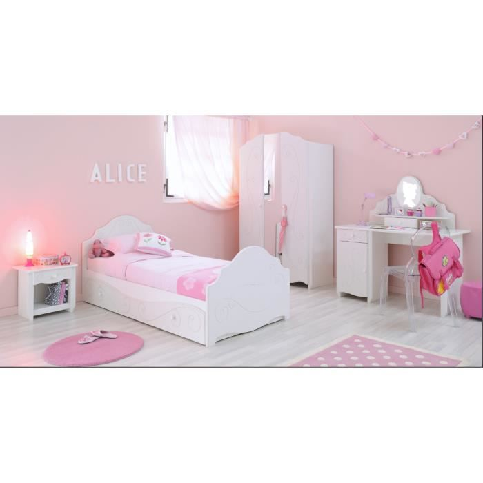 chambre compl te fille alice lit armoire chevet achat vente chambre compl te chambre. Black Bedroom Furniture Sets. Home Design Ideas