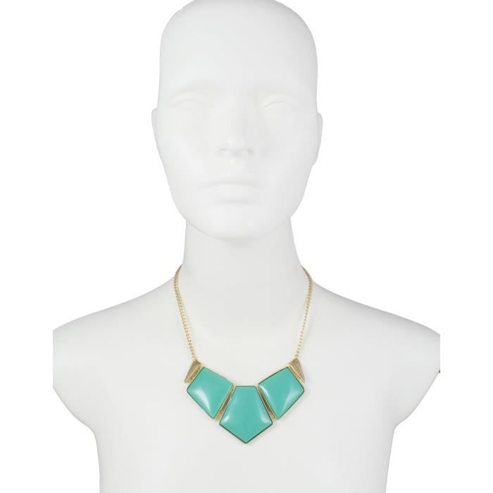 Womens Chunky Blocks Blue Zinc Statet Necklace ForV12BH