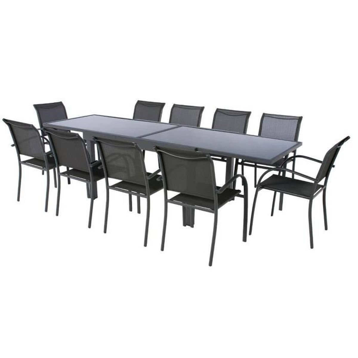 Table extensible en aluminium coloris anthracite graphite for Table extensible 2 a 8 personnes