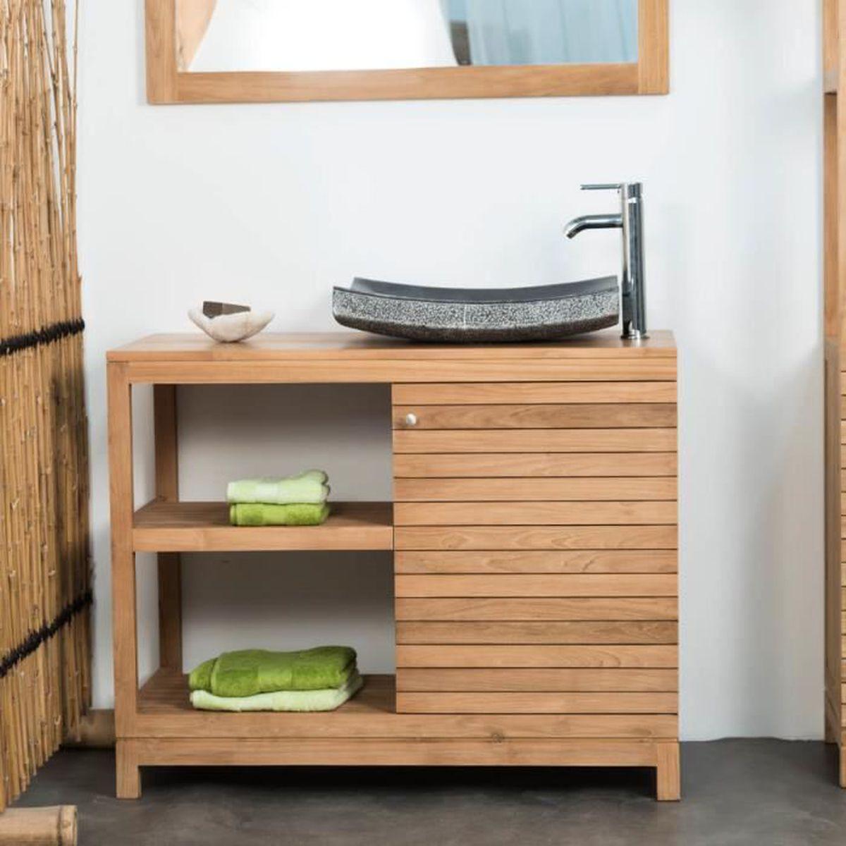 Meuble salle de bain en teck COURCHEVEL 18 - Achat / Vente meuble