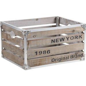 CAISSE BOIS Caisse de rangement bois et métal new-york 40x3…