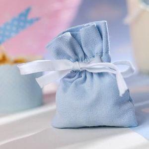 BOÎTE À DRAGÉES Petits pochons à dragées en lin coton bleu ciel (x