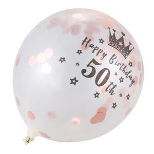 6 x 50th Doré Or Blanc Mariage Anniversaire Fête Helium Ballons Décoration