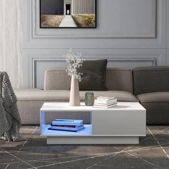 Table basse bar avec LED moderne pour salon 99 x 55 x 32 cm BLANC