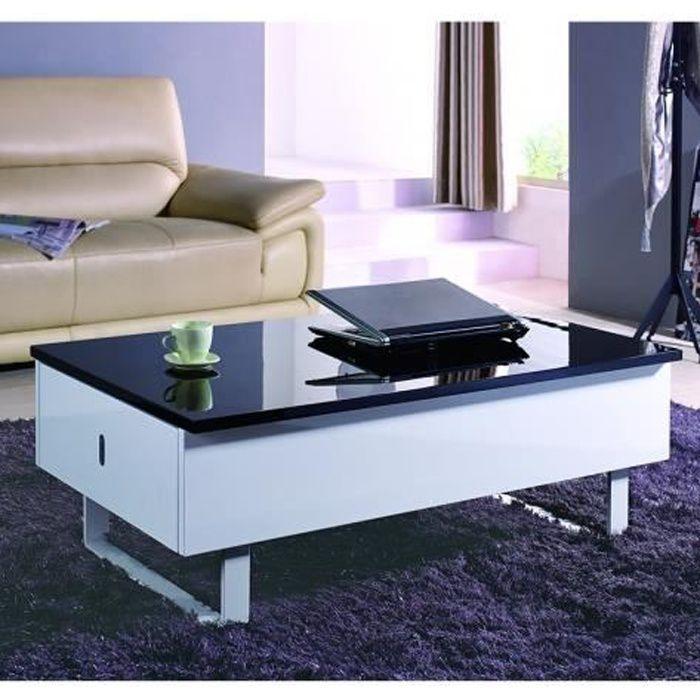 Table basse relevable multifonction laqué noir et blanc