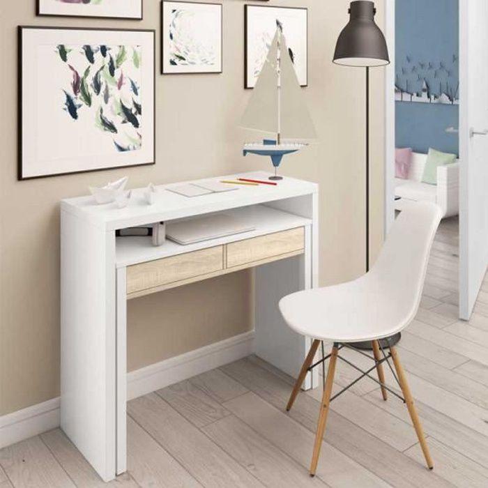 Console bureau extensible Blanc/Chêne clair - NIAL - Blanc - Bois - L 99 x l 36 x H 88