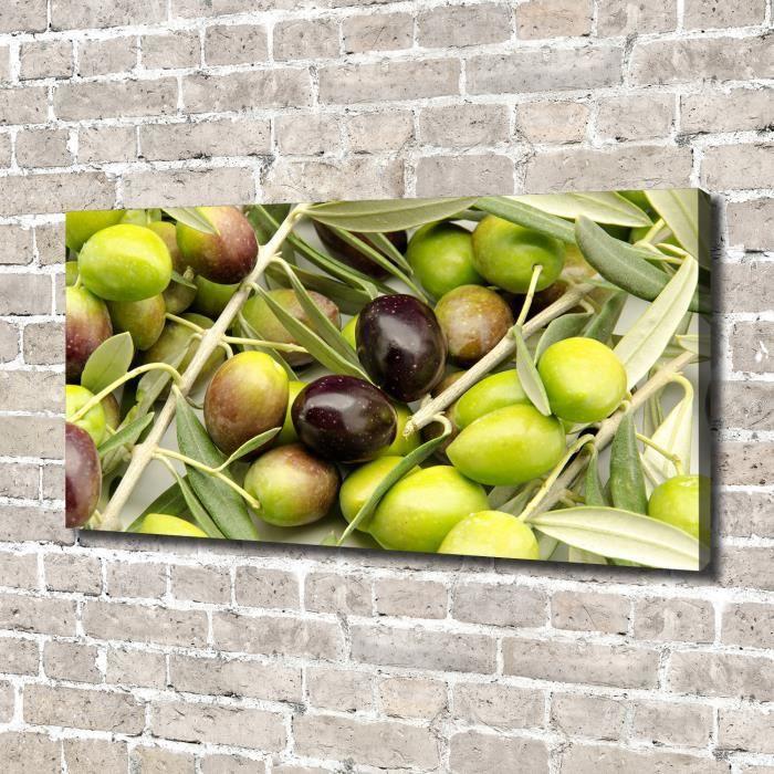 Tulup 140x70 cm art mural - Image sur toile:- Nourriture boissons - Olives Fraîches - Vert