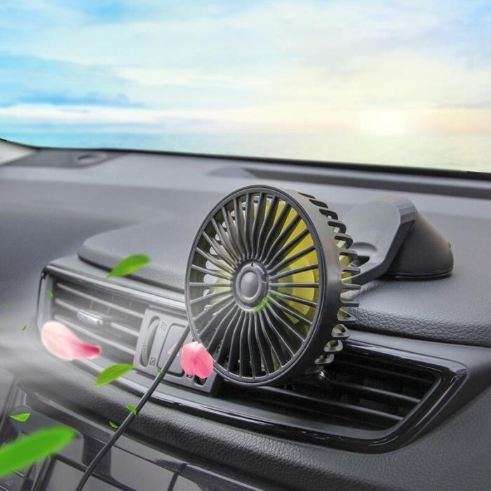 Ventilateur de voiture USB, vent fort, Auto ventilateur de tableau de bord, ventouse baume, accessoires de voiture [E913858]