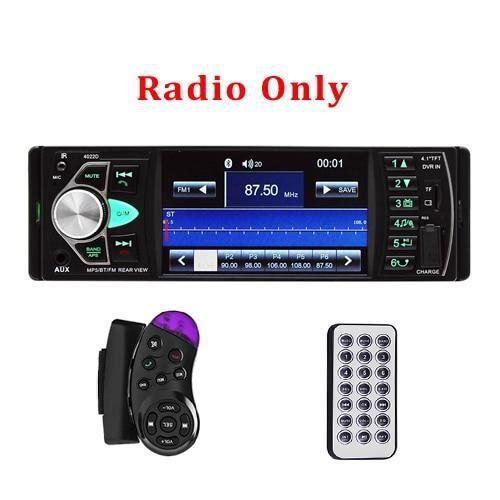 Podofo 4.1 pouce 1 Din Radio voiture Auto Audio stéréo autoradio Bluetooth Support vue arrière caméra USB volant - Type Radio Only
