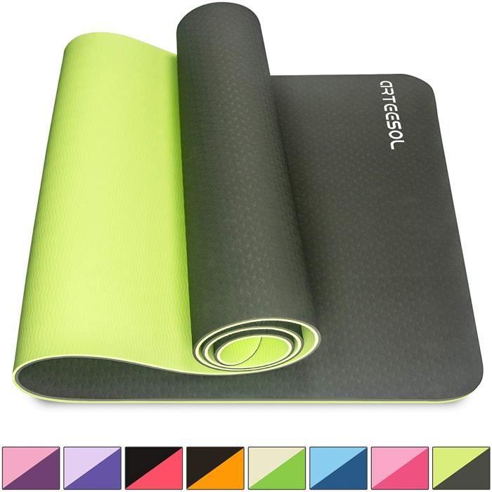 Tapis de yoga antidérapant sans substances nocives TPE Pilates Fitness 183 cm x 61 cm x 6 mm