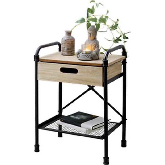 MEUBLE TABLE CHEVET APPOINT INDUSTRIEL BOIS GUERIDON ORIENTAL DESIGN LOFT