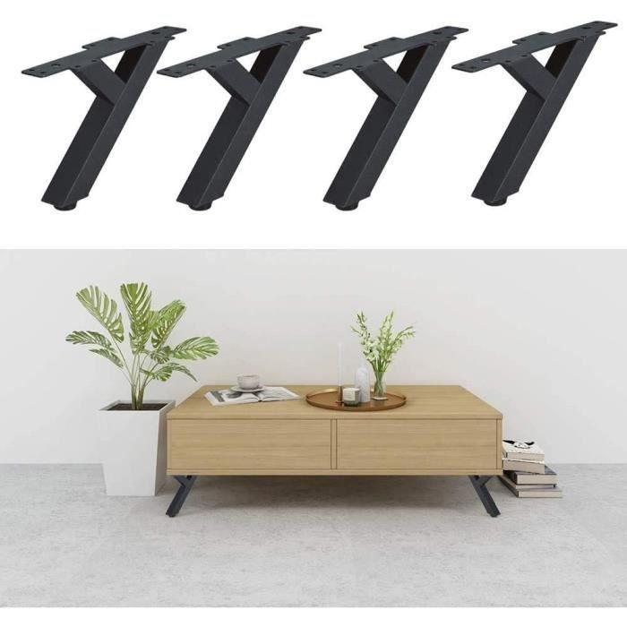 Lot de 4 pieds de meubles en fer Pieds de canapé Pieds de table en métal Pour table basse Pieds coniques obliques