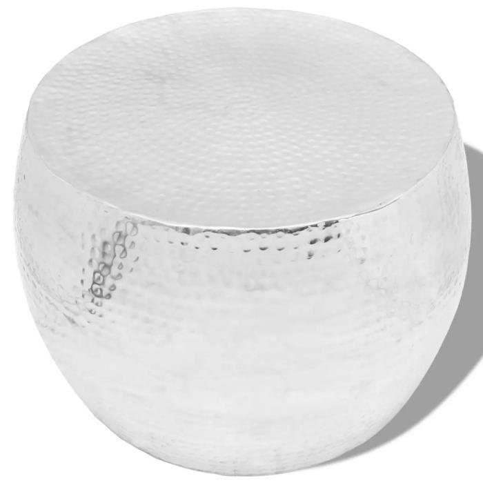 LIY- Table basse ronde Aluminium Argent