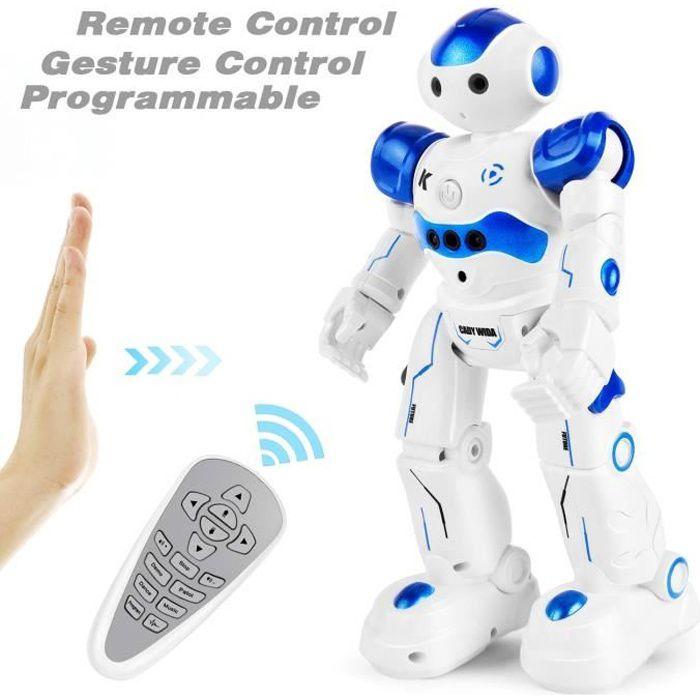 Robot Jouet Enfant, Programmable Robot Télécommandé pour Enfant, Cadeau Garçon Fille pour Anniversaire Noël Nouvel an(Bleu)