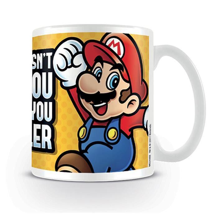 Tasse Nintendo Super Mario Bro What Doesn't Kill You Makes Yo blanc, imprimé, en céramique, capacité environ 320 ml.