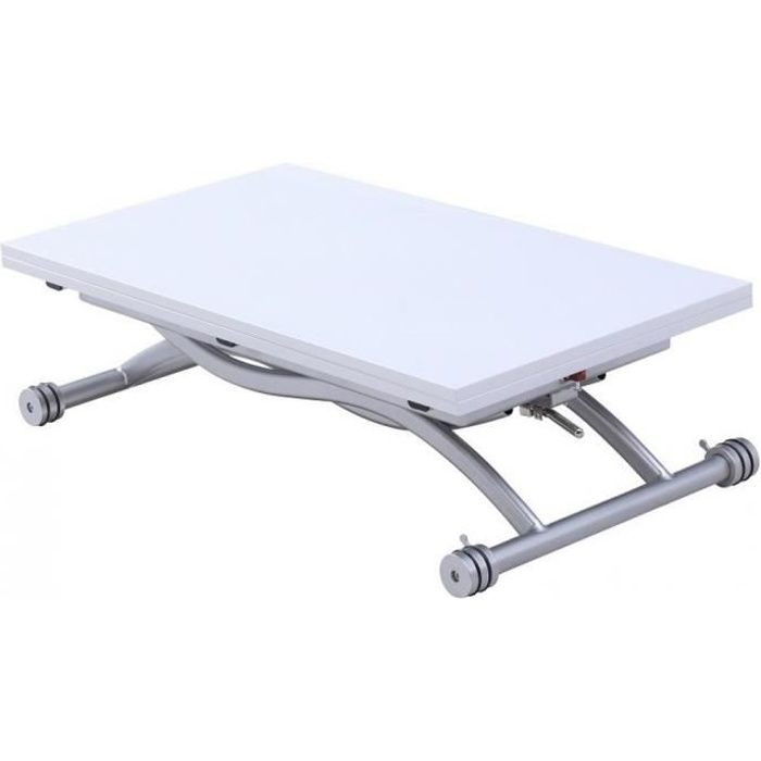 Table basse relevable extensible HIRONDELLE coloris laqué blanc blanc MDF Inside75