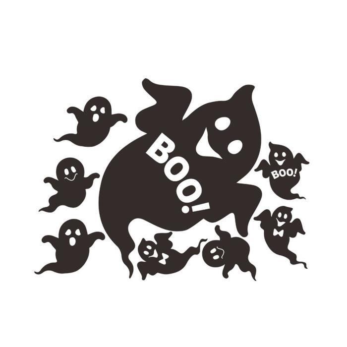 8 petits fantômes Halloween stickers muraux meubles de chambre à coucher, noir