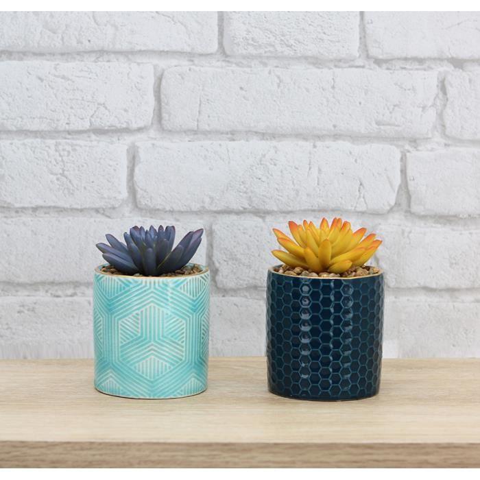 Ligne Déco - Lot de 2 Succulentes artificielles pots céramiques bleus + doré - 11cm - Plante verte artificielle - Plante grasse -