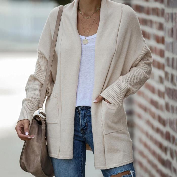 Manteau cardigan à manches longues pour femmes avec poches