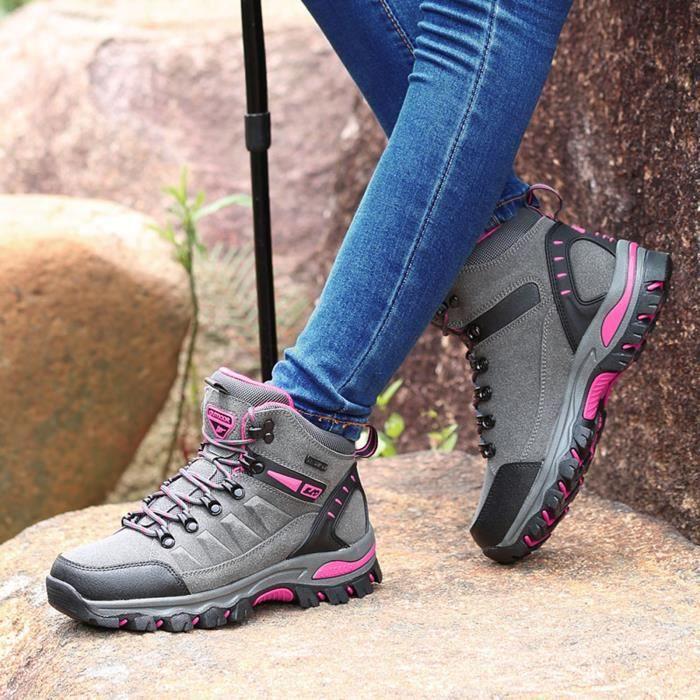 Femmes Sports de plein air Escalade Chaussures de randonnée Chaussures de randonnée imperméables gris