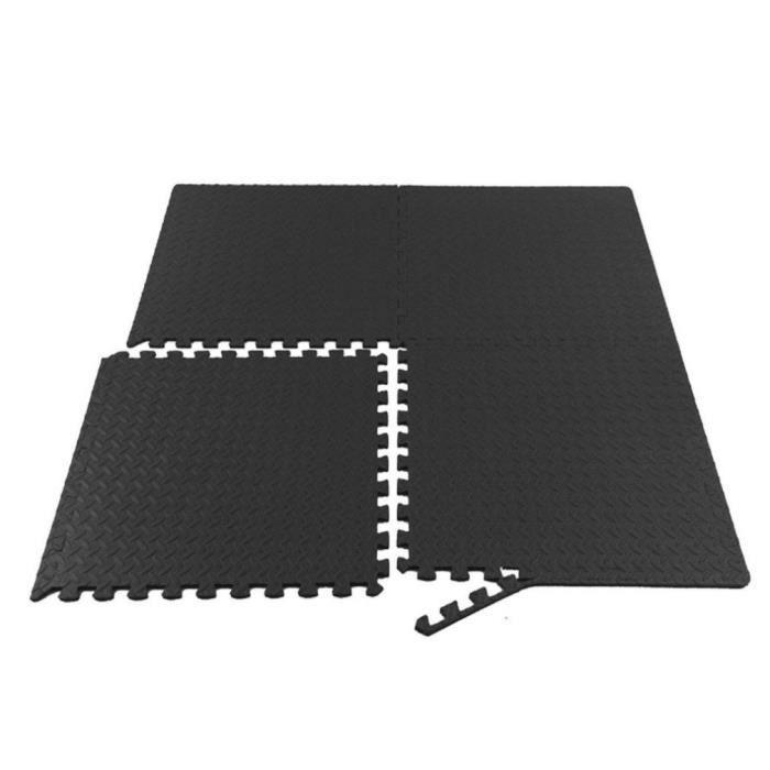 12 pcs Dalle EVA de sol Tapis Protection de Gymnastique anti-choc Tapis de sol à combinaison tapis de sport - 30.5*30.5cm noir