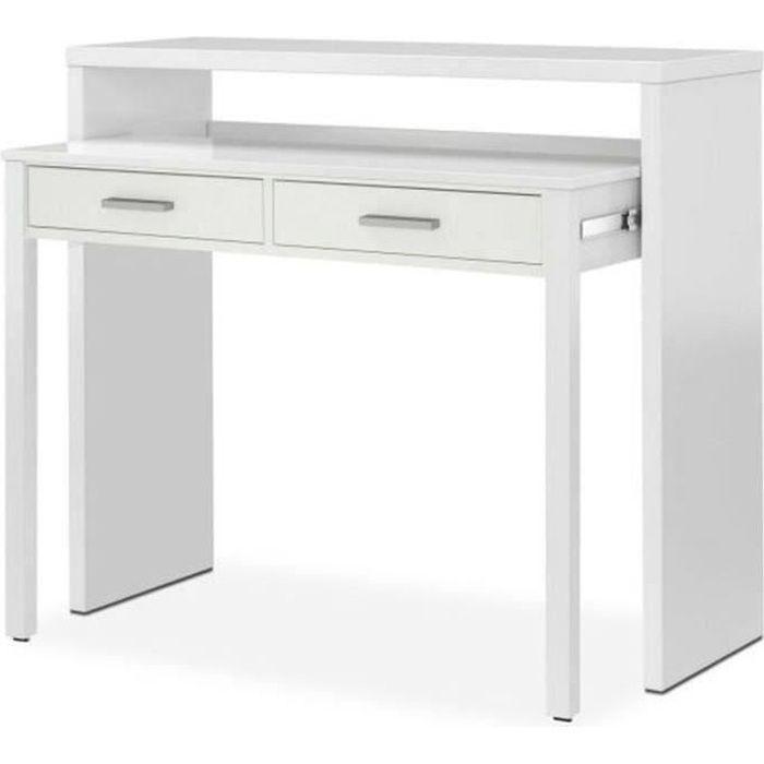 Bureau console extensible coloris blanc Artik - 87 x 98 x 36 cm