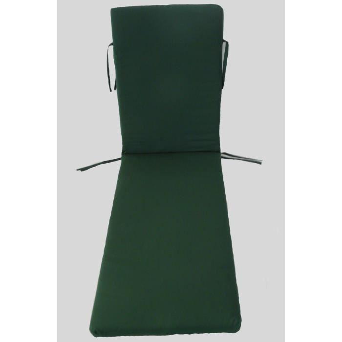 Coussin pour bain de soleil déhoussable coloris Vert - Dim : 190 x 60 x 5cm