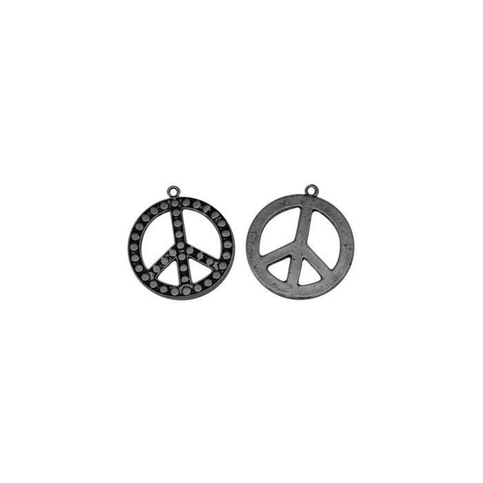 Symbole paix noir breloque pendentif apprêts bijoux x 1 pièce