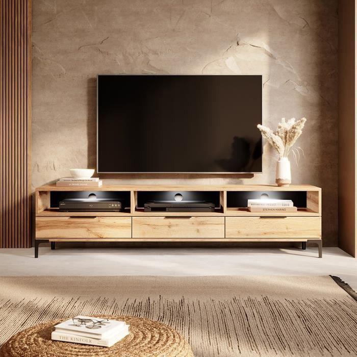 Meuble tv - RIKKE - 160 cm - chêne wotan - avec LED