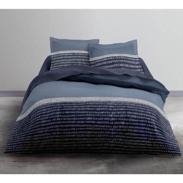 Housse de Couette 220x240cm Bluegraf + 2 taies d'oreillers 100% Coton 57fils Tissage très serré