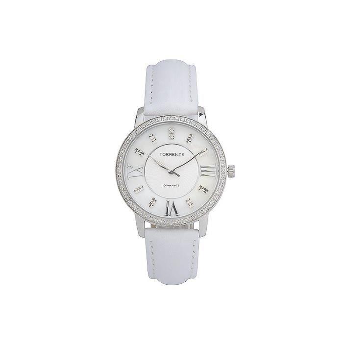 Montre Diamant femme Torrente SPIRIT Bracelet cuir blanc Diamant 0,01/2 - 4CBX3C021FT Blanc