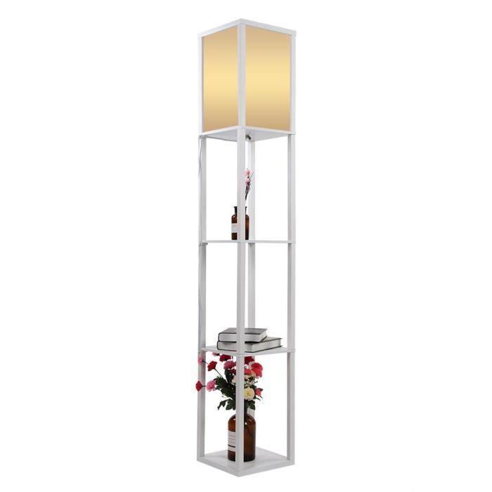 LAMPADAIRE Lampadaire en bois de 159CM avec 3 étagères Lampad