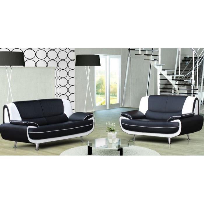 ENSEMBLE CANAPES Ensemble canapé 3+2 plces noir et blanc design MUZ