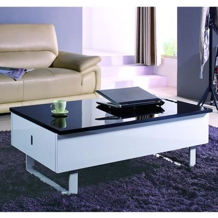 table basse relevable multifonction laque noir et blanc achat vente table basse table basse. Black Bedroom Furniture Sets. Home Design Ideas