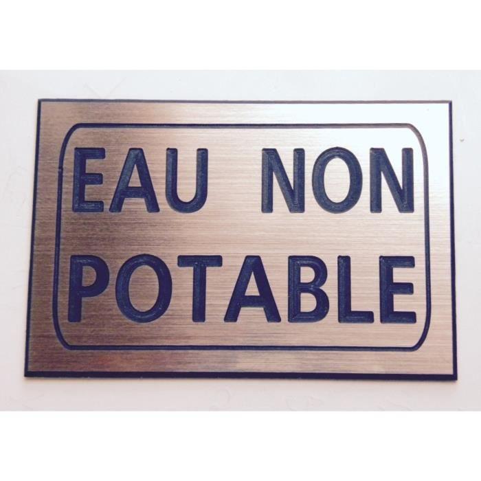 """plaque gravée /""""EAU NON POTABLE/"""" PLAQUE SIGNALETIQUE ft 100 x 150 mm"""