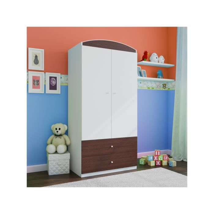 armoire enfant 2 tiroirs marron fonce achat vente. Black Bedroom Furniture Sets. Home Design Ideas