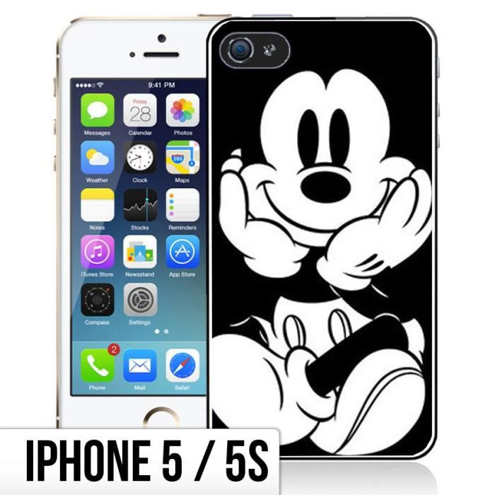 Coque iPhone 5-5S Mickey Noir et Blanc