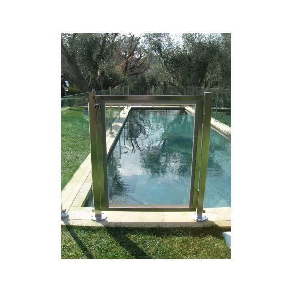 Portillon s curit piscine en verre oceanix achat for Portillon piscine bois