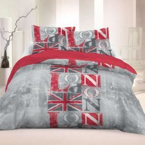 Housse de couette 220x240 cm london gris 2 taies d for Housse de couette london 1 personne
