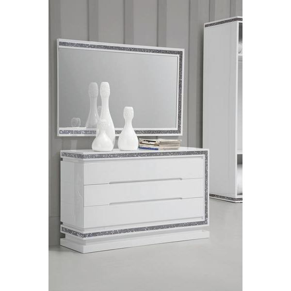 commode et miroir design laque blanc h brillance achat vente commode de chambre commode et. Black Bedroom Furniture Sets. Home Design Ideas