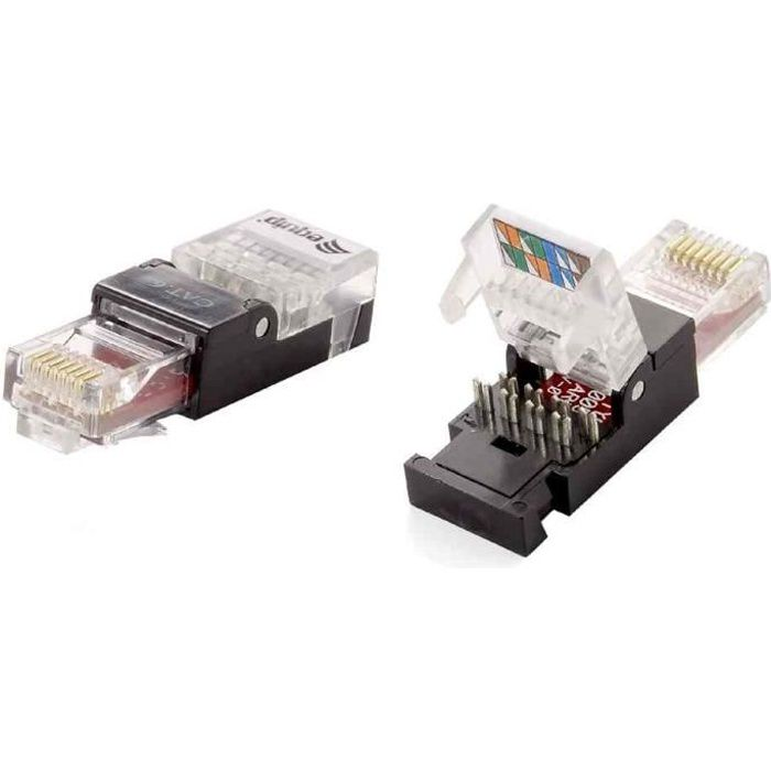 connecteur rj45 utp sans outil cat 6 prix pas cher cdiscount. Black Bedroom Furniture Sets. Home Design Ideas