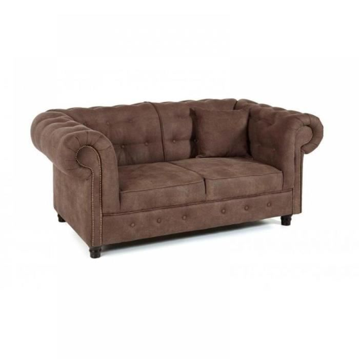 Canap fixe 2 places oxford chesterfield marron achat for Canape 2 places marron