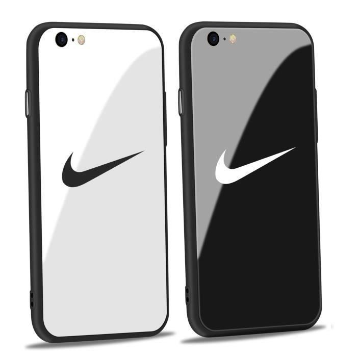 2pcs coque iphone 6 6s nike blanc noir verre coque