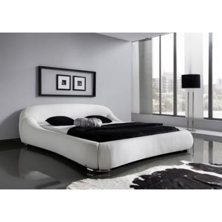 lit design rembourr blanc dave 160x200 cm achat vente. Black Bedroom Furniture Sets. Home Design Ideas