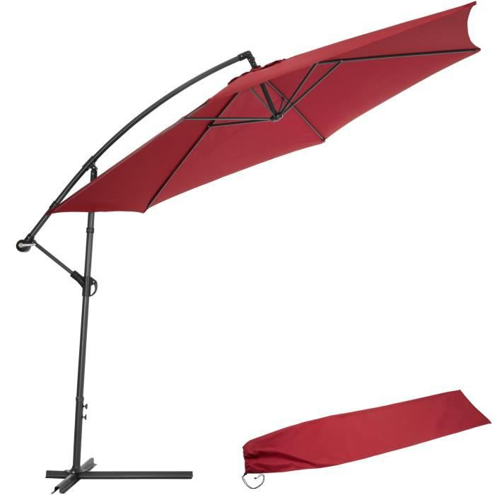parasol d port bordeaux en aluminium housse achat vente parasol parasol d port bordeaux. Black Bedroom Furniture Sets. Home Design Ideas